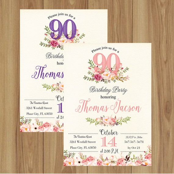 90th Birthday Invitation Floral Invite 30th