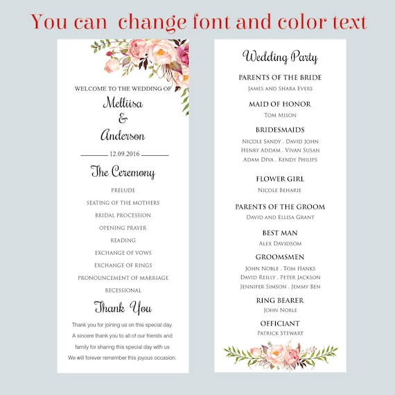 Printable Wedding Program Flat Template Card Floral Script Tea Length Wedding Ceremony Editable Text Instant Download Microsoft Wordf1