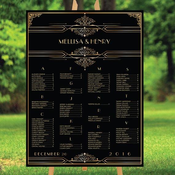 DRUCKBARE große Gatsby Hochzeit Sitzordnung Alphabet gold | Etsy