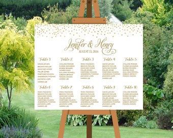 PRINTABLE Wedding seating chart alphabetical, Gold Dots Confetti Wedding Seating Chart Template,Table plans seating assignment | PY10