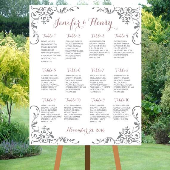 DRUCKBARE Kalligraphie Hochzeit Sitzordnung | Etsy