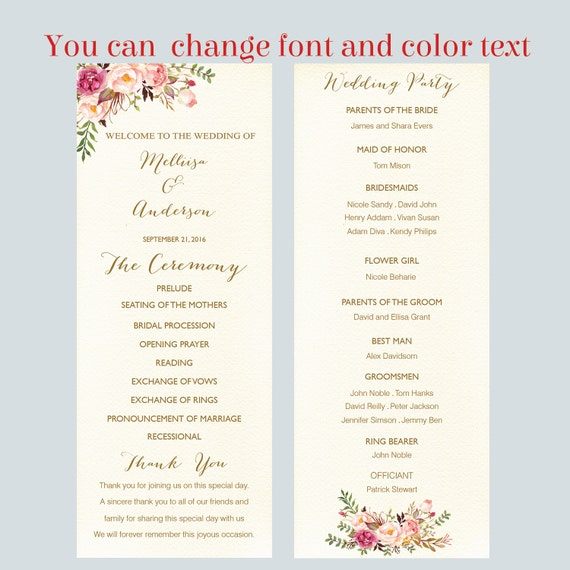 Printable Wedding Program Flat Template Card Floral Script Tea Length Wedding Ceremony Editable Text Instant Download Microsoft Wordf3