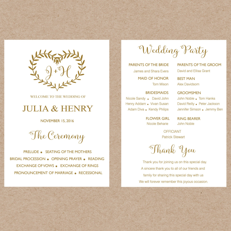Printable Wedding program template card Floral Rustic ...