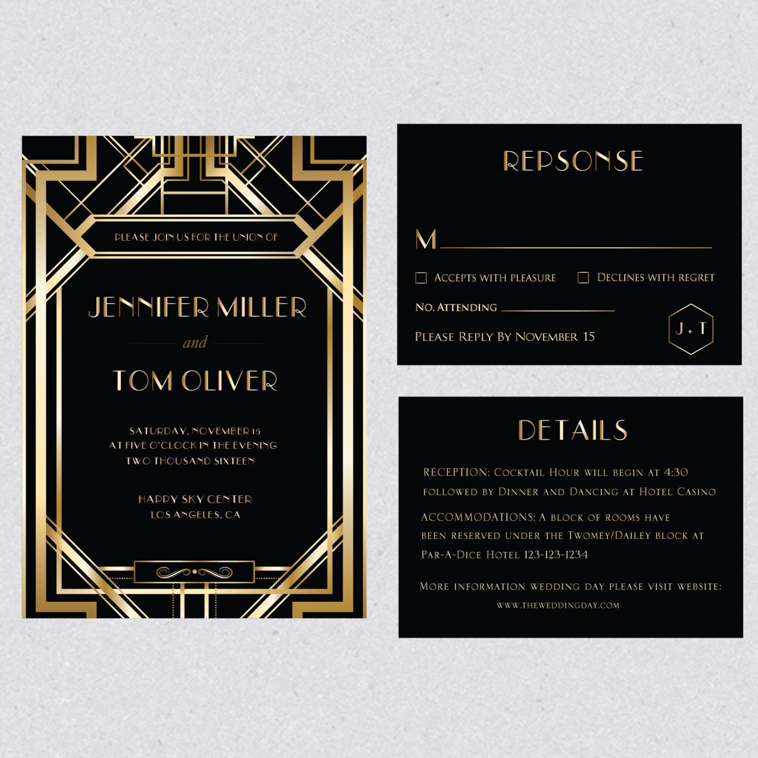 Printable Art Deco Gatsby Gold Wedding Invitation Template Set Etsy