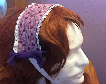 Purple hearts headband mori kei sweet lolita lace