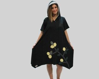 Black organic lemon branch applique dress / black hooded dress/ summer cotton tunic/ women black dress/ handmade dress/ black loose dress