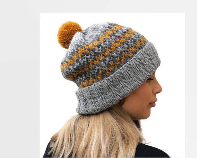 758a14888 Knit wool hat / Fair isle women hat / winter accessories / Pom Pom hat /  Gray knit hat / Rolled brim hat / Mustard knit hat / Gift for her
