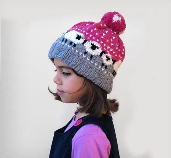 Mädchen Mütze / Fair Isle Strickmütze / rosa Strickmütze / | Etsy