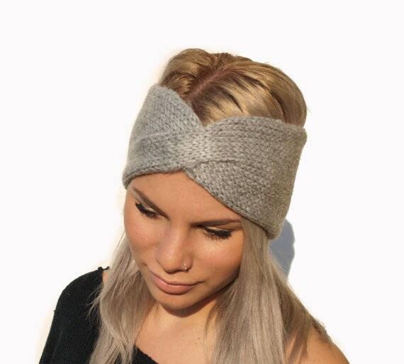 Grau von Hand stricken Stirnband / Frauen Ohr wärmer / Hand   Etsy