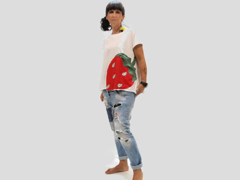 White organic cotton women top with strawberries applique etsy