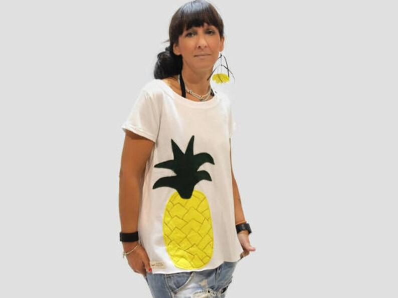 White organic cotton women top with pineapple applique design etsy