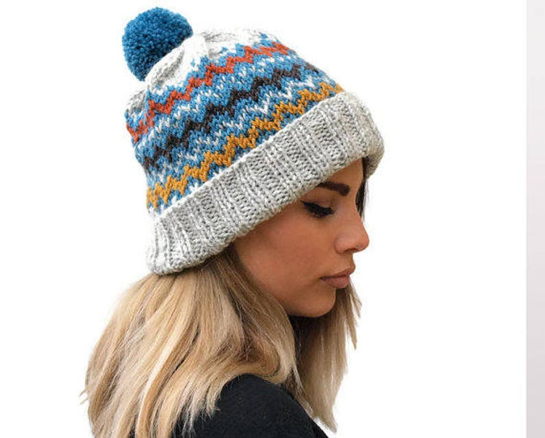 6ee7958a2 Gray Knit women hat / knit fair isle hat / winter hat / knit wool hat /  knit blue turquoise pom pom hat / gift for her / rolled brim hat