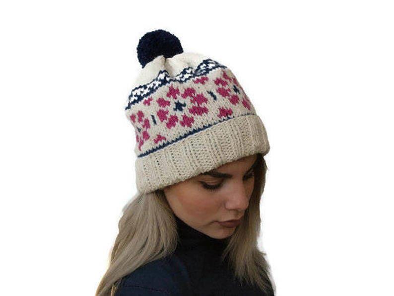 2ca1f138195 Knit fair isle hat Cream knit Beanie hat Women hat knit