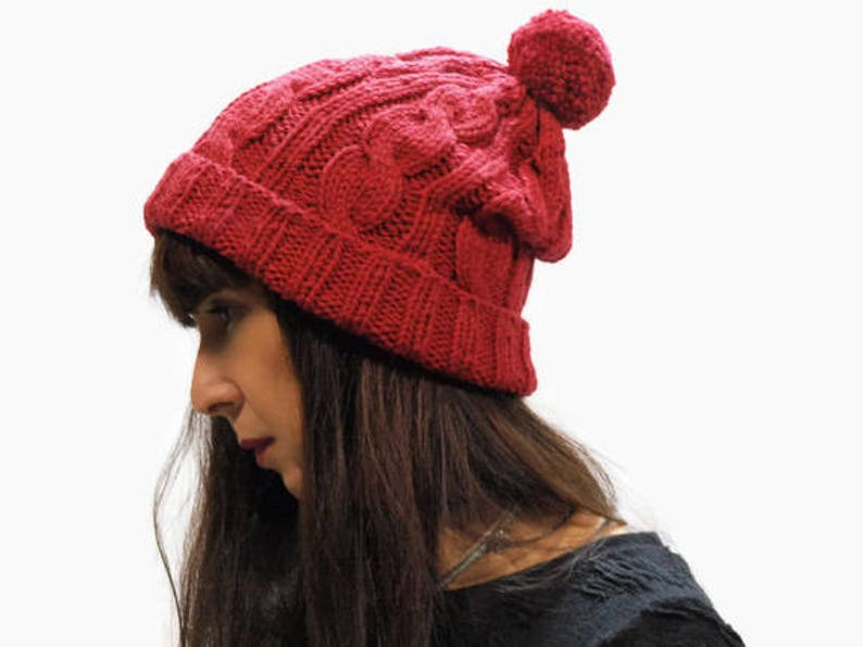 021a7846b15 Deep Red knit hat  cable knit hat  rolled brim beanie hat