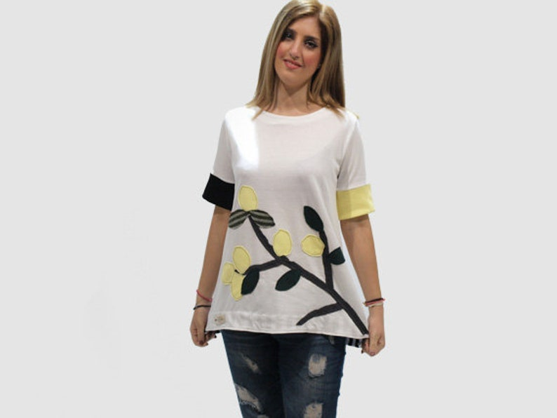 White organic cotton top with branch with flowers applique etsy