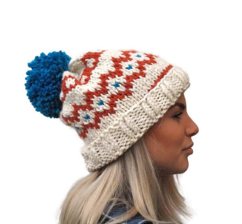 b77f498df0a Knit fair isle hat pom pom hat Hand Knit Beanie Cream