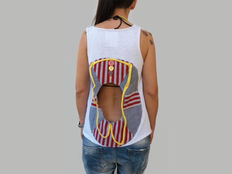 White open back cotton summer top lifebelt applique women etsy
