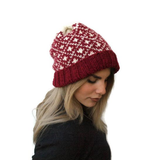 cb302a2e1 Knit women fair isle hat/ knit slouchy hat/ gift for her/ women hat/ wnter  knit hat/ winter accessories/ handmade hat/ knit red hat