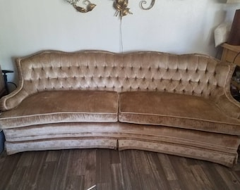 Vintage 1960s 60s Mid Century Hollywood Regency Truffled Victorian Style  Gold Velvet Couch Sofa Curved 7ft Long Floral Trimmed