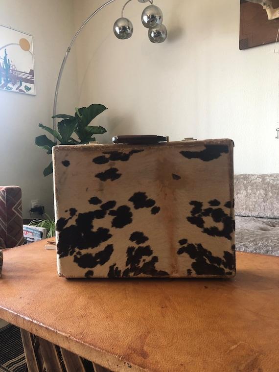 Vintage 1970s 70s cowhide briefcase western carry