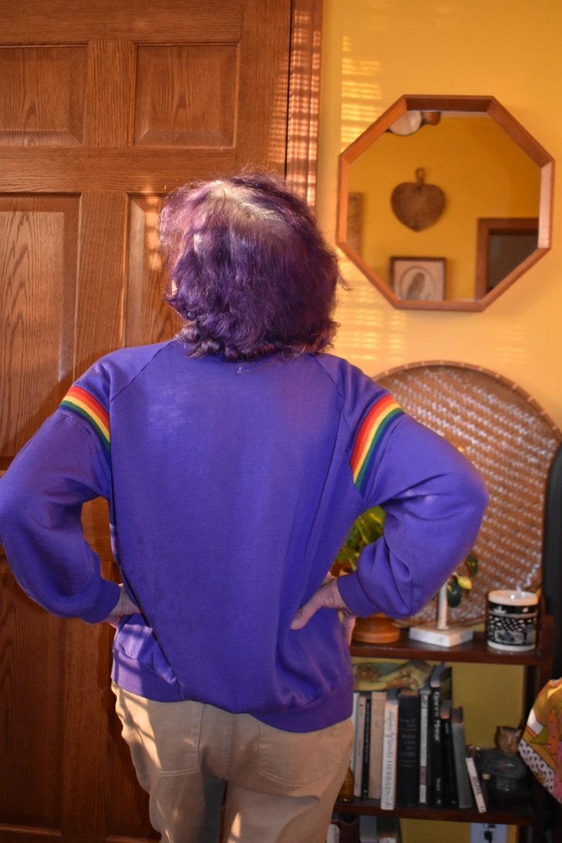 Vintage 1980s 80s purple rainbow gay rights flag sweatshirt crew cut women\u2019s size small