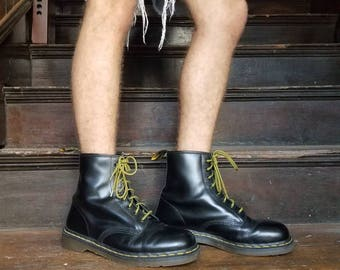 Vintage rare 1990 90s Doc Marten's black leather combat boots made in England 1460 Men's size 10