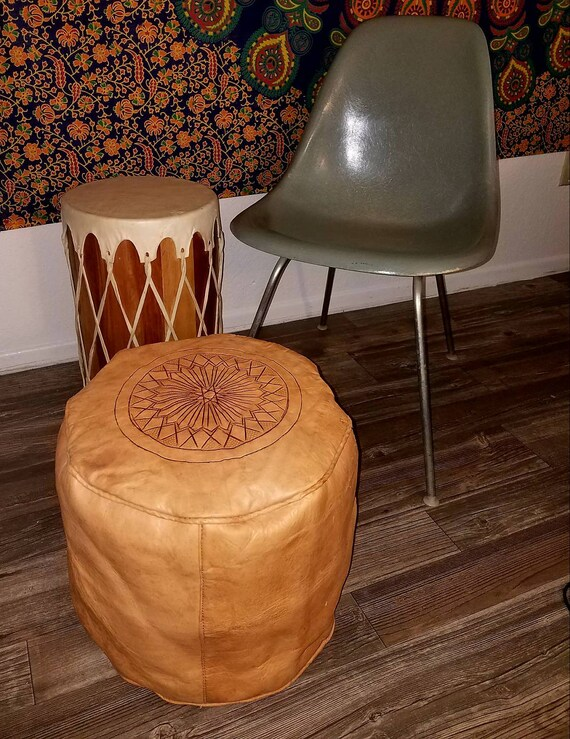 Fantastic Vintage 1970S 70S Leather Pouf Moroccan African Tan Leather Footstool Ottoman Ncnpc Chair Design For Home Ncnpcorg