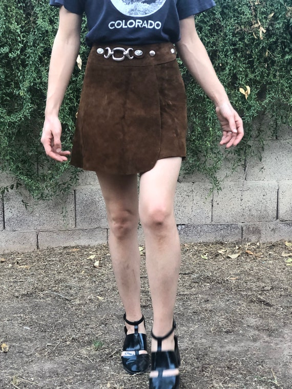 Vintage 1960s 60s suede leather metal hardware sna