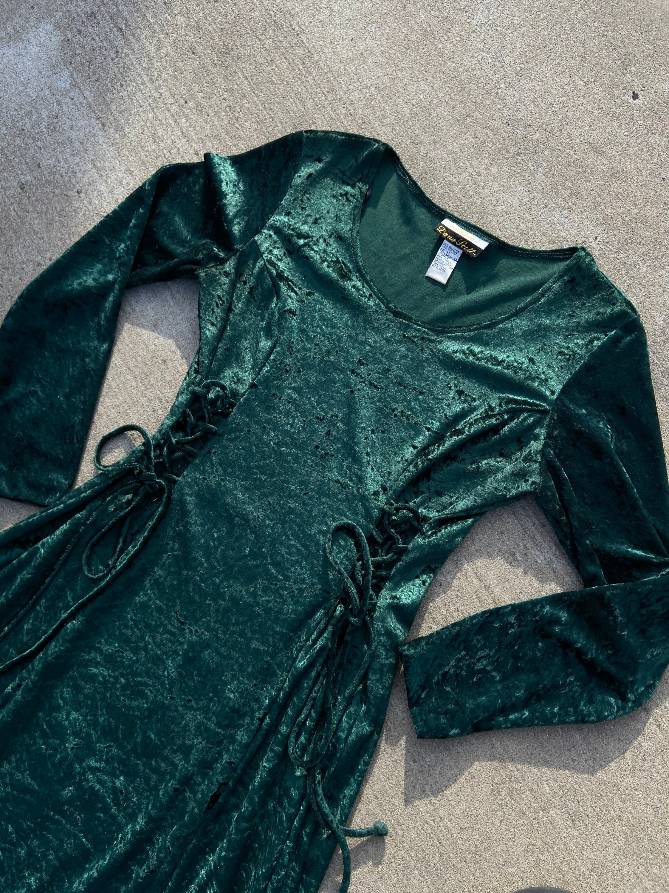 80s Dresses   Casual to Party Dresses Vintage 1980S 80S Emerald Green Crush Velvet Lace Tie Front Long Maxi Dress Soft Womens Size Medium Boho Hippie Festival Fairy Witch $8.00 AT vintagedancer.com