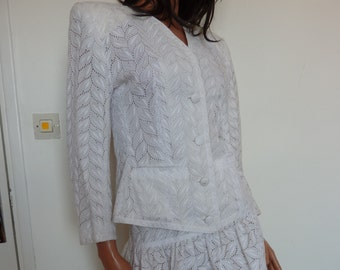 Elegant White Broderie Anglaise Suit ELGE4 French Size 38 Cotton Skirt Jacket Eighties 80s Lace Embroidered Matching