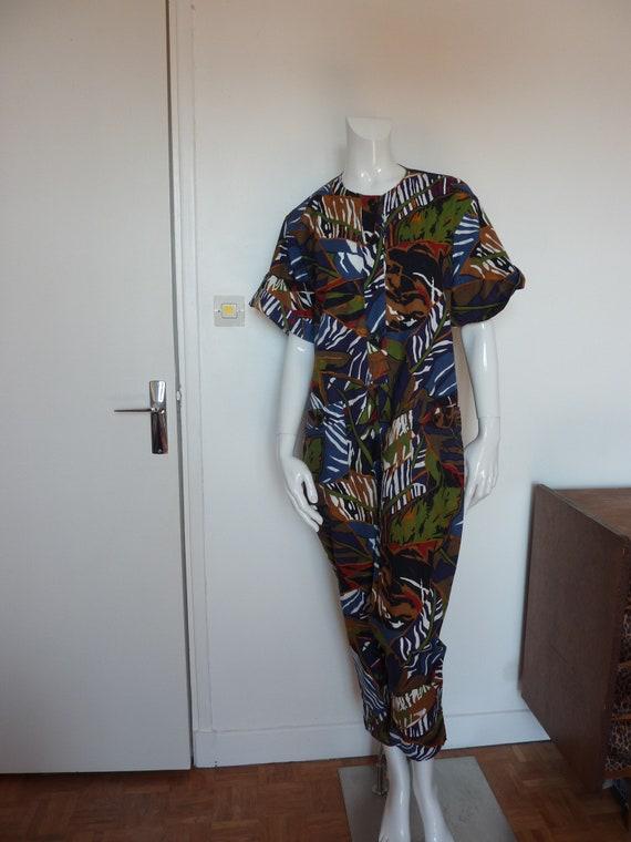Vintage Burton Loose Fit Jungle Print Jumpsuit Pla