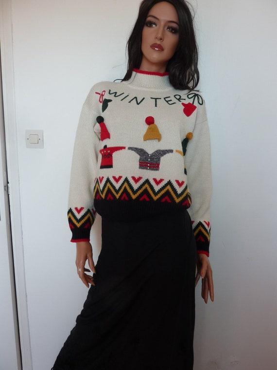 RENE DERHY Christmas Jumper Wool Novelty Winter Kn