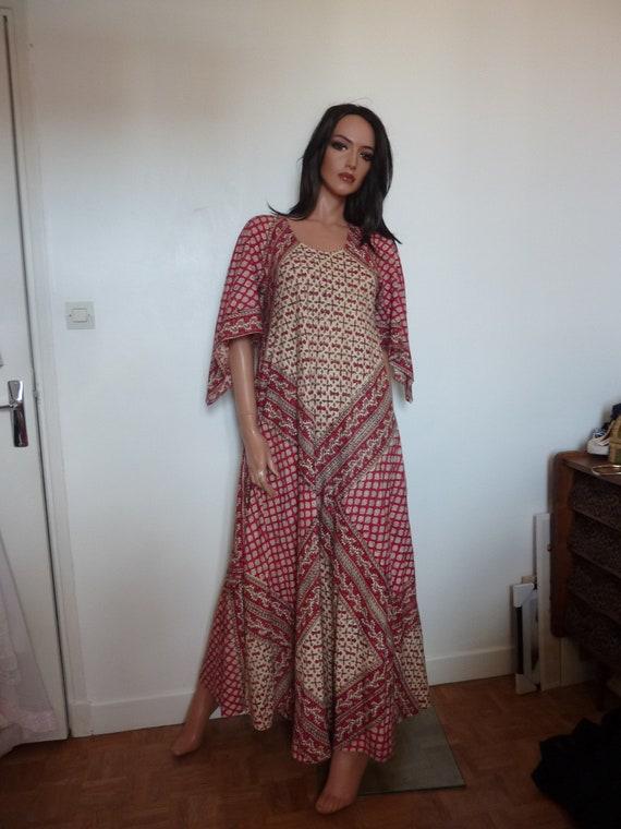 70s Block Printed Indian Angel Sleeve Dress Maxi C