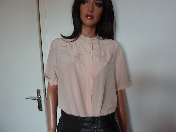 Vintage 20s 30s French Pink Silk Blouse Handstitch