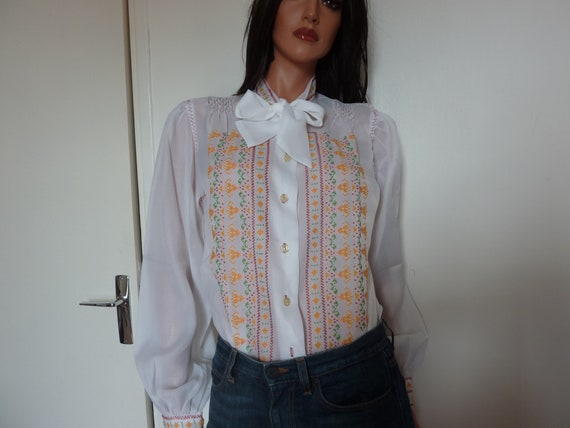 Vintage 60s 70s Greek Hand Embroidered Blouse Whit