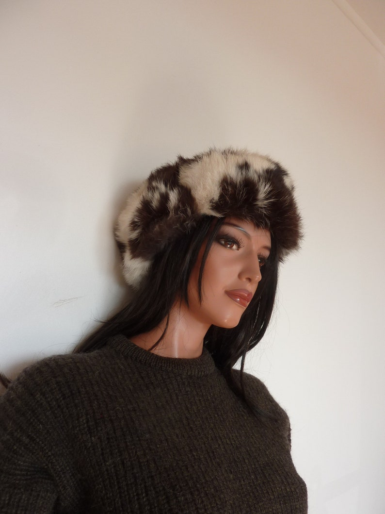 Vintage Fur Trapper Hat Brown White Quilted Lining Rabbit Unisex Russian Winter Hat Skiing 59