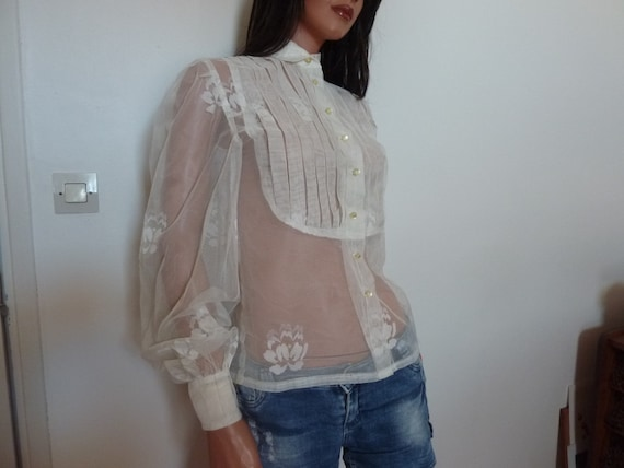 One of a Kind Sheer White Blouse Voile Shirt Big P