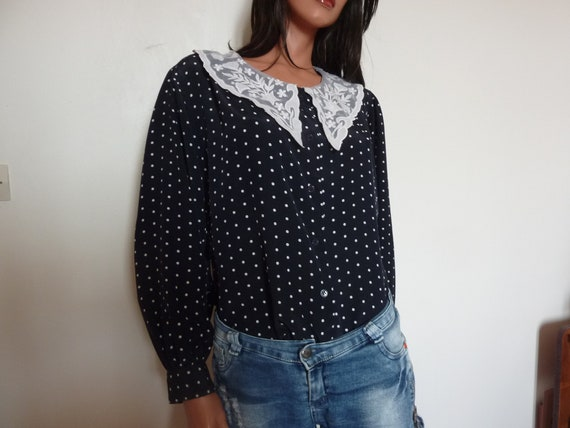 Vintage 80s Polka Dot Blouse with Big Lace Collar