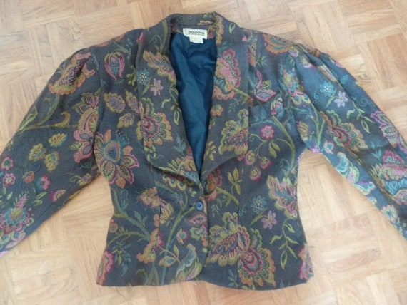 80s Jacket Big Puff Sleeves Synonyme Georges Rech… - image 3