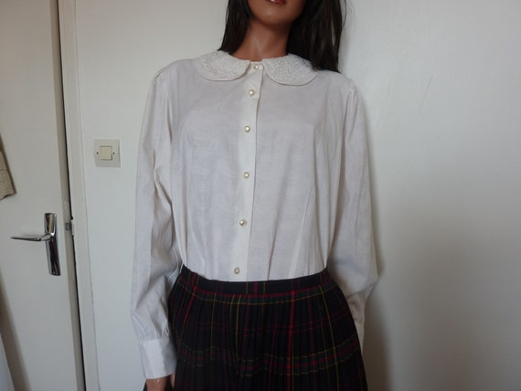 Vintage 80s White Blouse Lace Collar CANDA Peter P