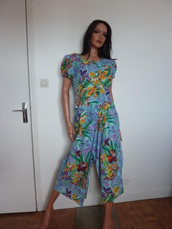 Vintage ISHWAR Trouser Suit Jumpsuit Indian Floral