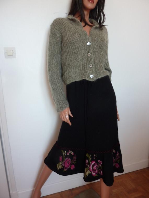 90s RENE DERHY Wool Cross Stitch Skirt |Knitted Bl