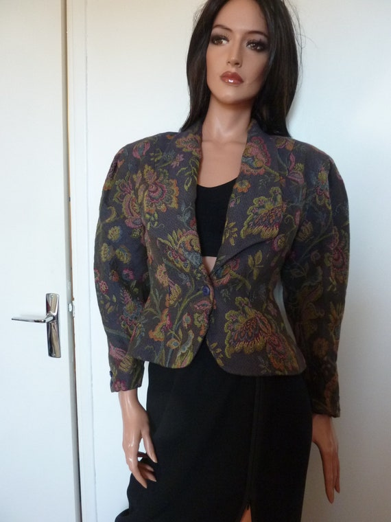 80s Jacket Big Puff Sleeves Synonyme Georges Rech… - image 5