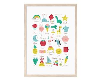 Child ABCs in Spanish. Alphabet, children, Blade, printable, print, box, gift, child, girl, baby