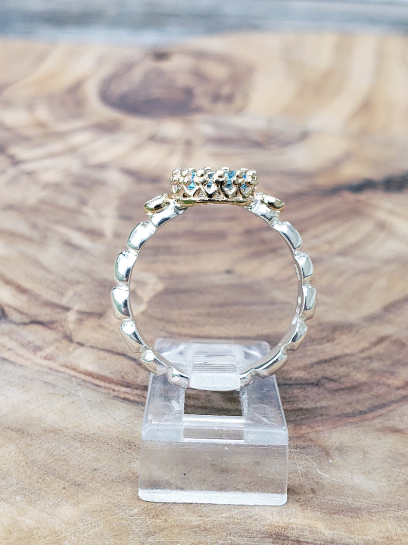 Engagement Wedding Ring! BLUE TOPAZ /& DIAMONDS Ring ~When Metal Meets Beauty Collection~ Sterling Silver and solid 14K Yellow gold Promise