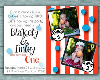 Twins Birthday Party Invitation Thing 1 2