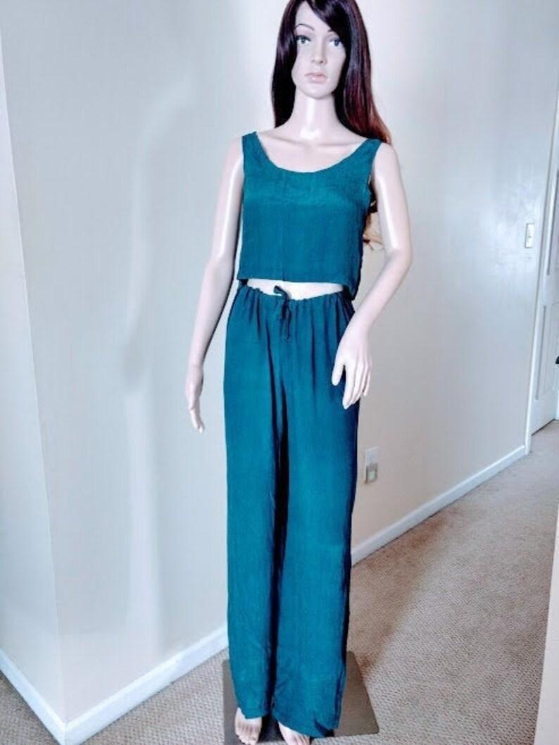 Tank Genuine Silk Pants Dress Drawstring Pants Crop Top Kimono Jacket Silk Clothing New Vintage Crinkled Silk Beachwear Loungewear
