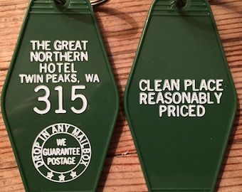 """Green with white printed """"Twin Peaks"""" Inspired """"GREAT NORTHERN hotel keychain"""