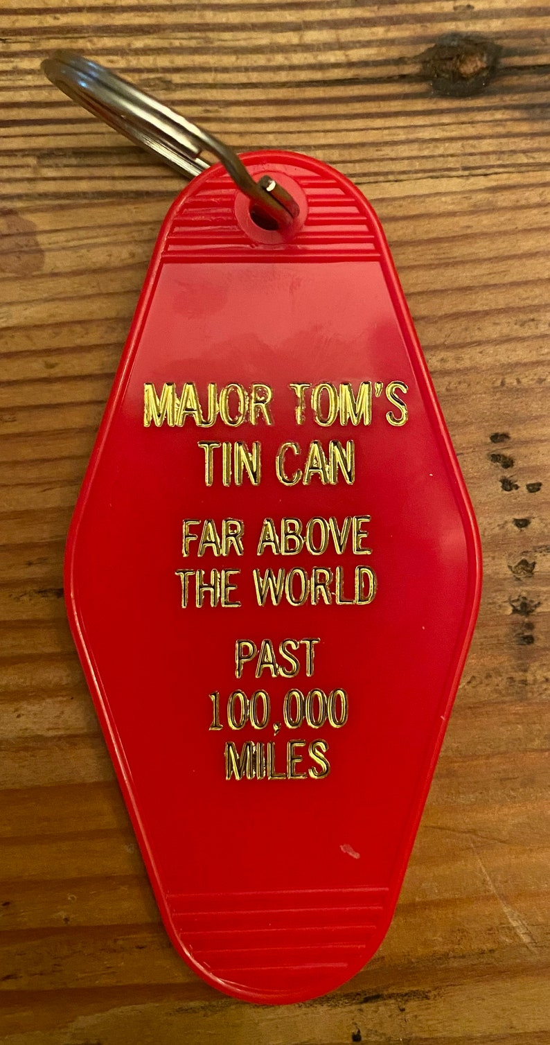 DAVID BOWIE inspired Major Tom keytag in red with gold print, single side