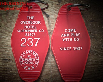 On Sale! Room 237  KEYCHAIN (white lettering) // Shining inspired OVERLOOK HOTEL -  Printed on both Sides
